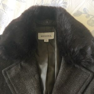 Merona Jackets & Coats - Merona Long Herringbone Jacket with Belt